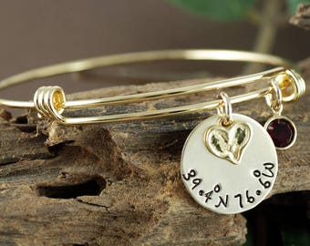 Coordinate Bracelet, Heart Bangle, Personalized Bangle Bracelet, Gold Bangle Charm Bracelet, Birthstone Bangle, Coordinate Jewelry