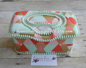 Retro Triangles in Coral Mint and Metallic Gold Flip Top Nursery Baby Wipe Case, Baby Shower Gift, Large Wipe Holder, Diaper Wipecase