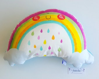 Decorative, interior accessories cute rainbow, kids illustrative cushion