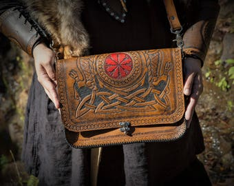 Helm of Awe and Wolf Knotwork Messenger Bag - Norse Viking Icelandic Satchel / Leather Bag
