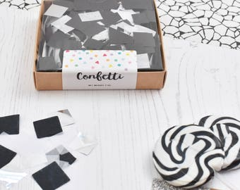 Black & White Mix Confetti, Monochrome Confetti, New Years Eve Party Decorations, Party Confetti Box