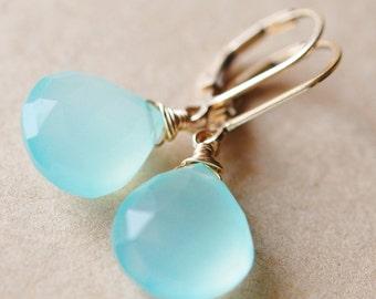 Aqua Chalcedony Earrings Gold, 14K gf, Wire Wrapped Gemstones on Leverbacks, Tidal Pool