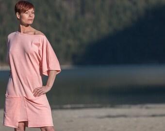 Kleid, Sommerkleid mit große Taschen, Oversize Kleid, knielang, Baumwollkleid, Moderner Sommerkleid, Jerseykleid Orange, Kleider, bio kleid
