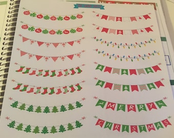 christmas banner, fits two eclp boxes,  themed  weekly planner sticker theme:stickers for planners, journals, scrapbooks and more!