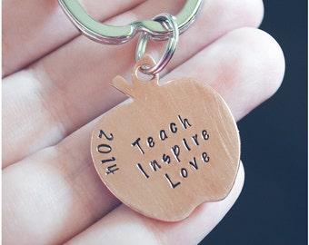 Teacher's Apple Keychain - Teach, Love, Inspire - Copper Apple Keychain - 2017 Teacher of the Year - Preschool Teacher Gift