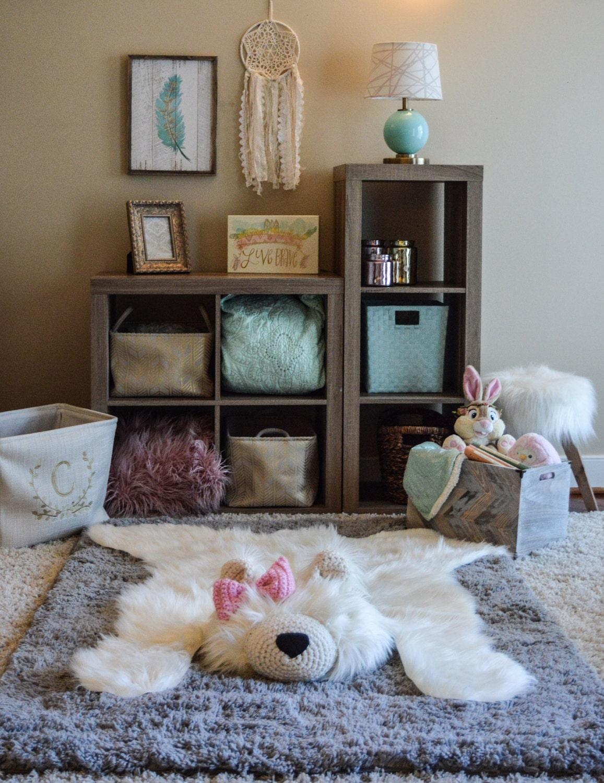 Polar Bear Rug Faux Bear Rug Woodland Nursery Baby Room