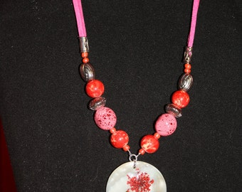 Red Floral Shell Pendant
