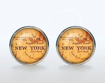 New York map cufflinks New York Map Cuff links personalized Cufflinks gift for boyfriend Christmas gift wedding cufflinks groom gift