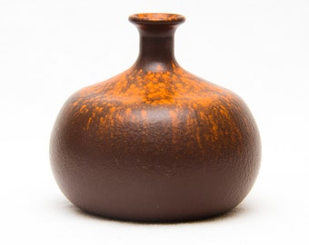 Fat Lava vase, red, round, painted glass '70's