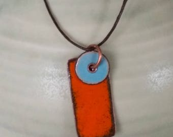 orange with aqua blue enamel pendant