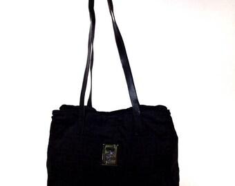 Fendi monogram canvas bag black vtg