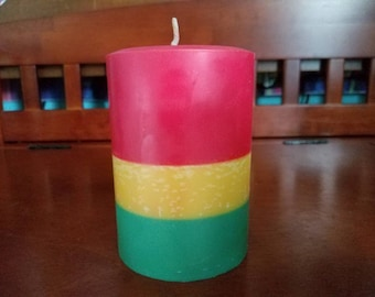 """Bayside Breeze, Artisan Crafted, Layered Rasta Colored Soy Pillar Candle 3x4.5"""""""
