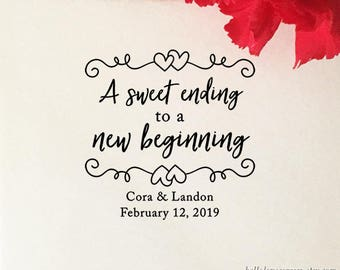 A Sweet Ending To A New Beginning Stamp, Wedding Favor Stamp, Wooden Rubber Stamp, Candy Buffet Stamp, DIY Wedding Favors, Engagement Party