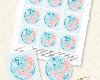 Mermaid Favor Tag Round Printable Thank You custom tags personalized splash tail download pool party treat gold foil glitter digital ocean