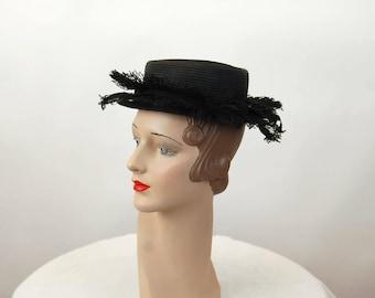 1940s hat black straw hat petite hat Valerie Modes New York Creation
