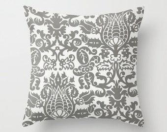Decorative Pillow Cover Grey Pillow Cover Damask Pillow Cover Size Choice Throw Pillow Accent Pillow Couch Pillow