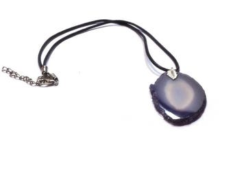 Purple Agate Slice Pendant ,  Black Leather Necklace