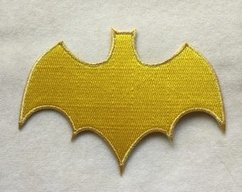 Bat Girl Super Hero Logo Iron On Patch #Shiny gold border