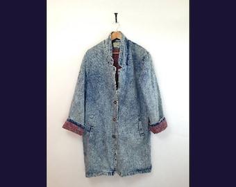 80s 90s Denim Acid Washed Half Trench Coat Womens XL- XXL Jean Jacket Very Hip