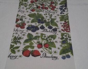 Vintage Tea Towel, Lois Long, Berries Design, Dish Towel, fruit, Retro, kitchen kitsch, FREE Shipping!
