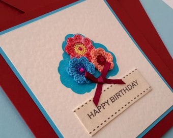 Handmade Birthday card with crocheted flowers