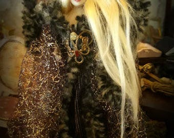 Dollhouse miniature wearable 1/12th scale hooded cloak & crown. Fantasy/Fairy Queen/ Witch/Wizard/