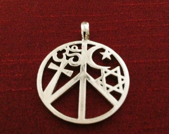 Coexist Pendant - Coexist Necklace - Peace Sign Necklace - Peace Sign Jewelry - Sterling Silver Necklace