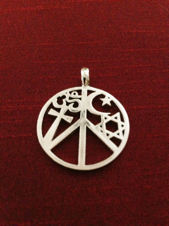 Coexist pendant coexist necklace peace sign necklace aloadofball Images