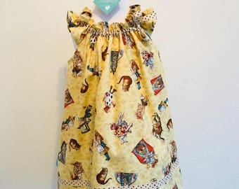 Shirley Alice in Wonderland Fabric,Girls Dress,Girls Party Dress,Handmade Girls Dress,One off Age 3