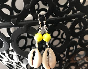 Cowrie shells with bright yellow swarovski pearls