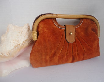 Suede Purse With Bamboo Handles