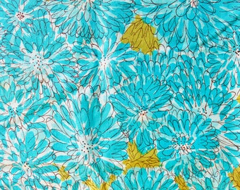 Vintage 1960s Blue Floral Tablecloth with Chrysanthemum Design 49 by 68 Inches
