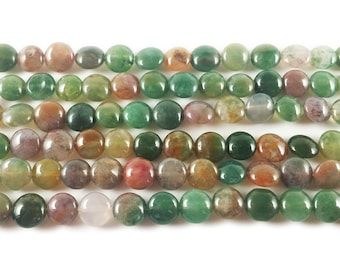 Indian Agate Coin Gemstone Beads