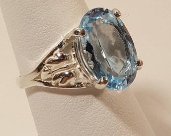 Astounding Brazilian Blue Topaz Silver Ring