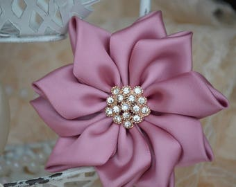 "Mauve Satin Ribbon Flowers, 3 1/2"" Satin Fabric Flowers, Satin Flower,  Satin Roses, Ribbon Flowers, Crystal Flowers, 30 Colors"