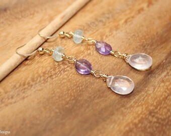 Rose Quartz, Amethyst and Aquamarine Earrings, Wire Wrap, Rose Quartz Jewelry, Gemstone Earrings