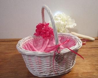 Wedding, flower girl basket, white pink basket, wedding basket, bridal, girly basket, whicket basket, flower girl basket, timelesspeony