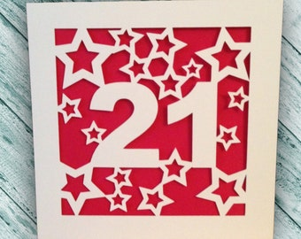 Papercut - 21st Birthday Card