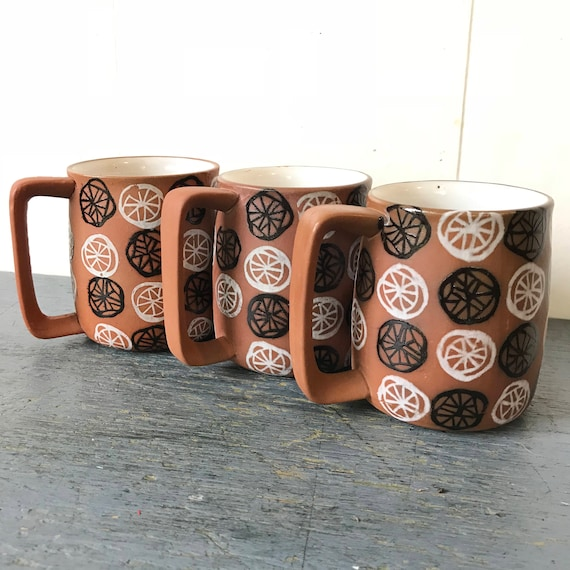 handmade pottery mugs - terra cotta coffee cups - hand painted glaze - mid century modern - Set of 3