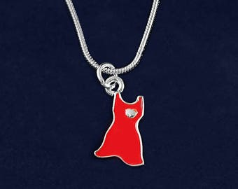 Red Dress Charm Necklace in a Gift Box (1 Necklace - Retail) (RE-N-P3S-HRT)