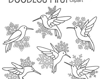 Hummingbird Snowflake Outlines Digital Clip Art for Scrapbooking Card Making Cupcake Toppers Paper Crafts