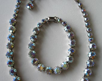 beautiful WEISS vintage crystal necklace and bracelet SET ab aurora borealis silver toned