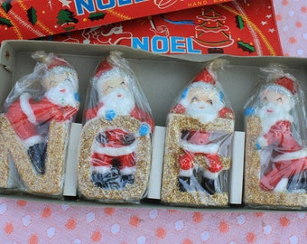 Vintage Japan Christmas NOEL Santa Candles, Unused in Box, One Set