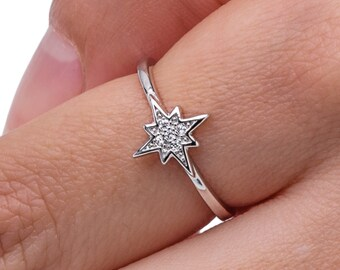 Star Jewelry, Tiny Star Ring, Sterling Silver Ring, Star Ring, North Star ring, Zirconia Ring, Thin Stacking Ring, Star Rings, North Star.