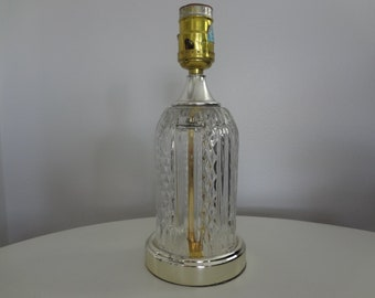 Leviton Glass Table Lamp with Gold Trim Base and Diamond Pattern Design- CLEAR CUT GLASS