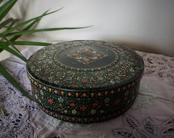 Floral Huntley & Palmers Biscuit Tin Storage Trinket Tin