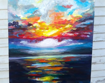 Colorful Horizon Original oil painting with FREE SHIPPING(to US buyers)