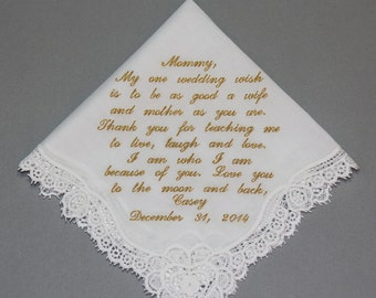Mother of Bride Embroidered Wedding Handkerchief Personalized Custom Monogram (#1606121)