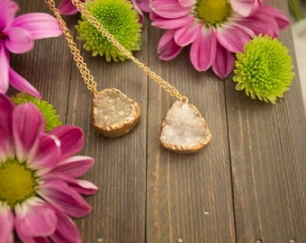 Gold Crystal Quartz Druzy Necklace