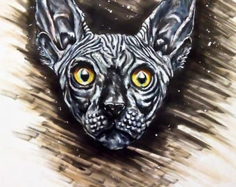 Sphynx cat drawing a3 markers more ink